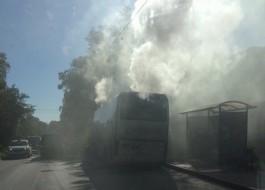 В Калининграде загорелся пассажирский автобус