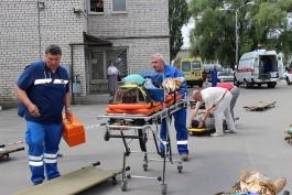 В Калининграде инсценировали обрушение трибуны на стадионе к ЧМ-2018