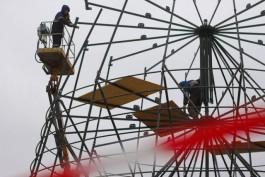 На площади Победы в Калининграде начали собирать новогоднюю ёлку