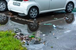«Забили ливнёвку»: отремонтированную улицу Багратиона в Калининграде затопило после дождя