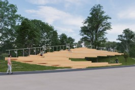 Власти Зеленоградска показали, как будет выглядеть трибуна для площадки пляжного волейбола