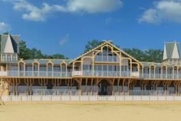 На пляже Зеленоградска начали строить летнее кафе в историческом стиле