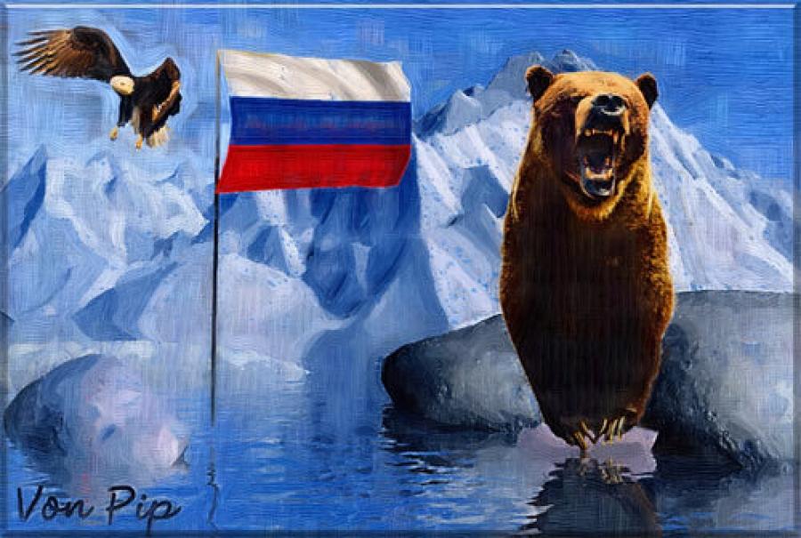 картинка белый медведь с флагом россии умаю, хозяин казана