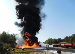 В «Храброво» учились тушить загоревшийся после жёсткой посадки самолёт