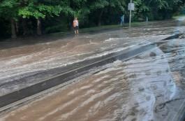 В Калининграде затопило часть улицы Гагарина