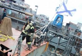 На судоремонтном заводе в Балтийске прошли учения по ликвидации крупного возгорания