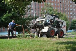 На набережной Трибуца в Калининграде строят площадку с полем для гандбола