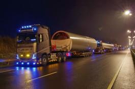 Для перевозки 265-тонного ветряка для Ушаково потребовалось 11 фур
