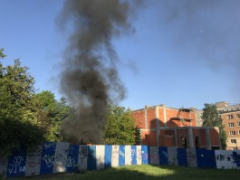 На территории строящегося храма на ул. Лазаретной в Калининграде произошёл пожар