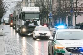 Литовские перевозчики провели акцию протеста в центре Вильнюса