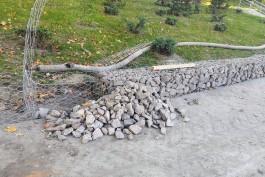 На Нижнем озере в Калининграде укрепляют берег и склоны