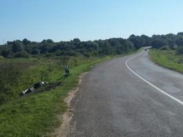 На трассе в Краснознаменском округе скутер вылетел в кювет и загорелся