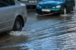 В Калининграде из-за аварии затопило перекрёсток перед Высоким мостом