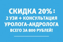 2 вида УЗИ и консультация уролога-андролога всего за 800 рублей: получите скидку 20% по 30 ноября