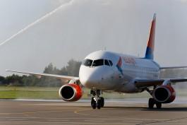 В «Храброво» встретили первый самолёт из Минеральных Вод