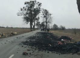 В Гурьевском округе грузовик рассыпал кучу угля на дороге